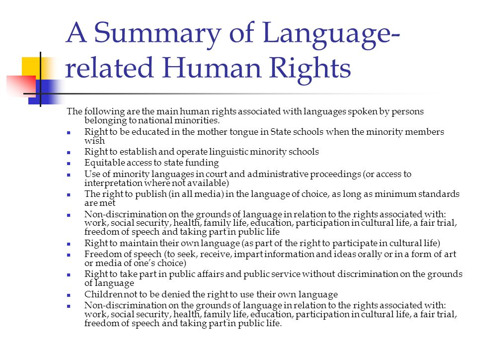 A Summary of Language-related Human Rights