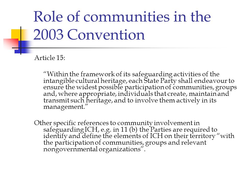 Role of communities in the 2003 Convention