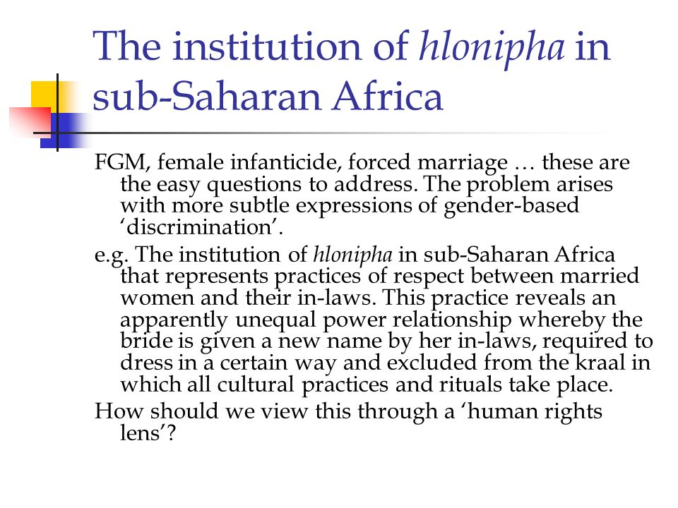 The institution of hlonipha in sub-Saharan Africa