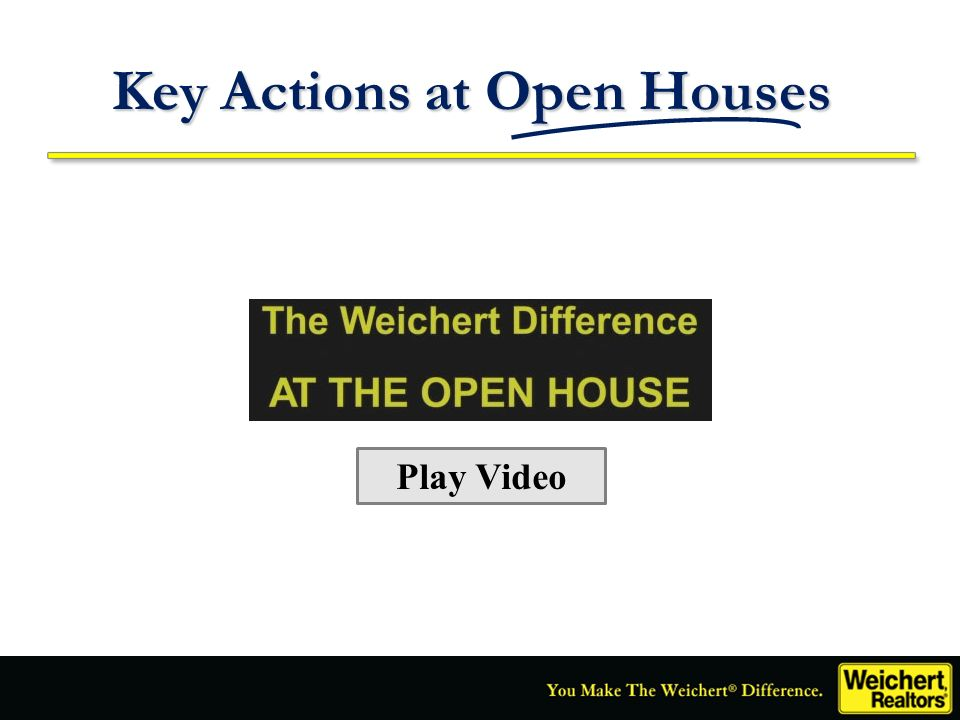 Key Actions at Open Houses