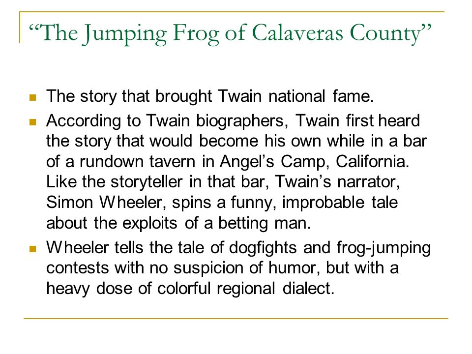 The Jumping Frog of Calaveras County
