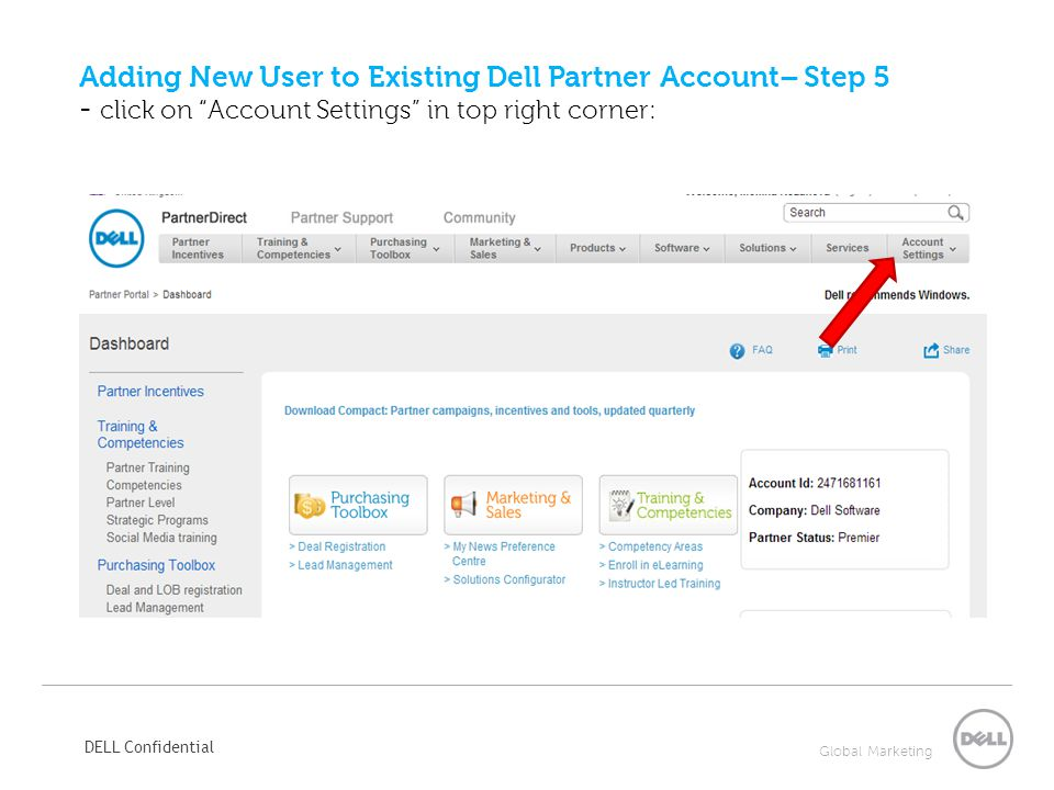 Adding New User to Existing Dell Partner Account– Step 5 - click on Account Settings in top right corner: