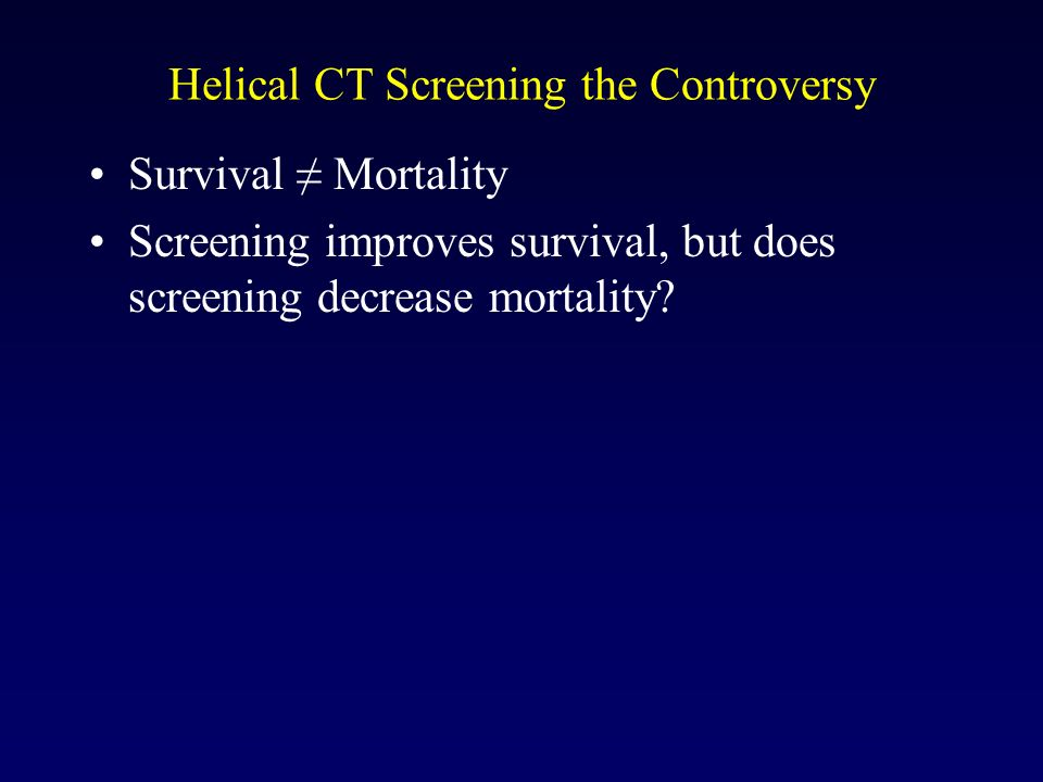 Helical CT Screening the Controversy