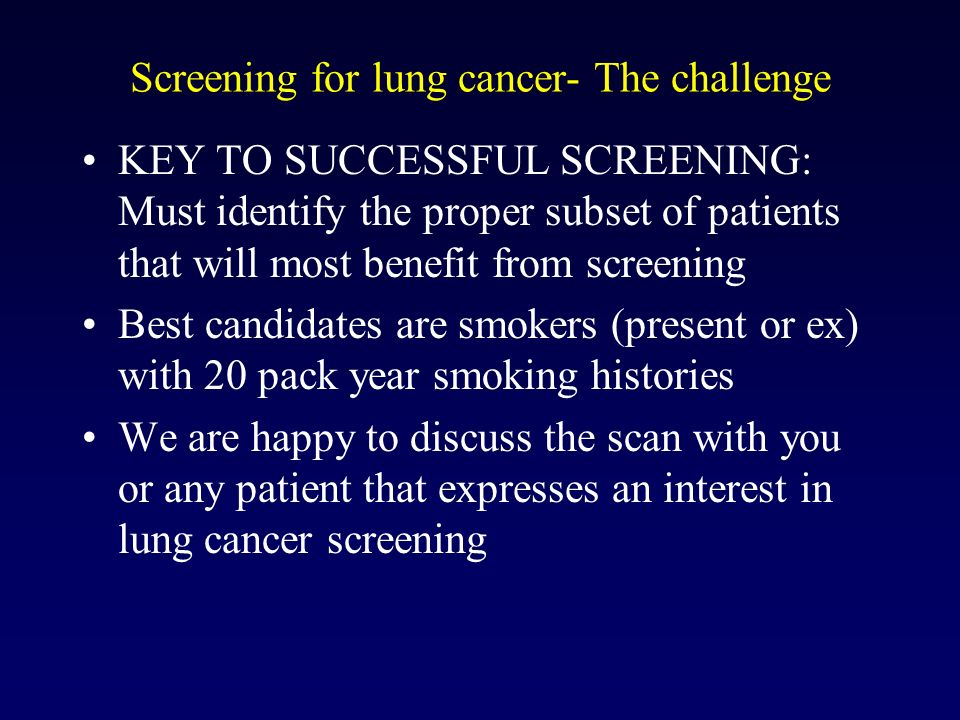 Screening for lung cancer- The challenge