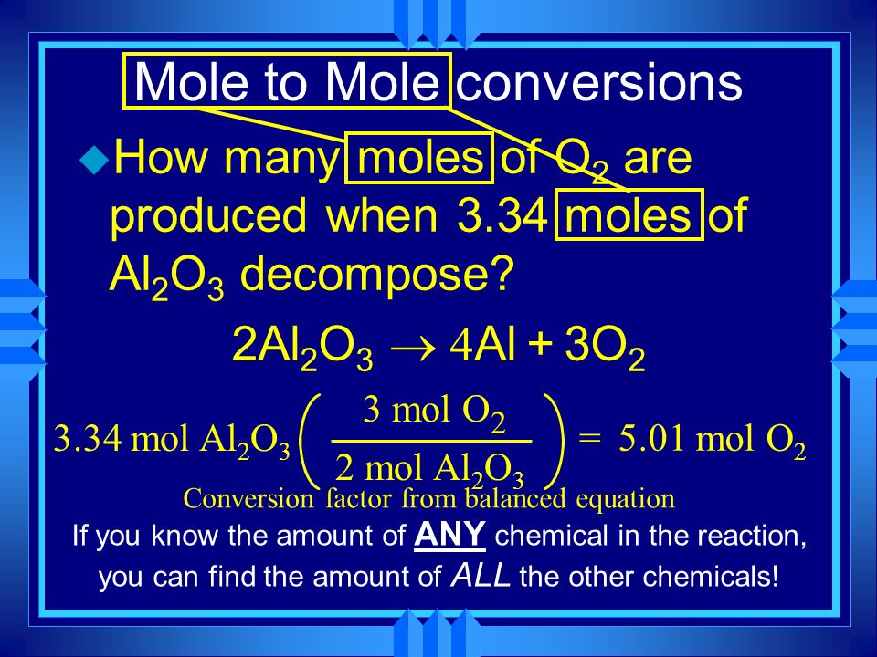 Mole to Mole conversions