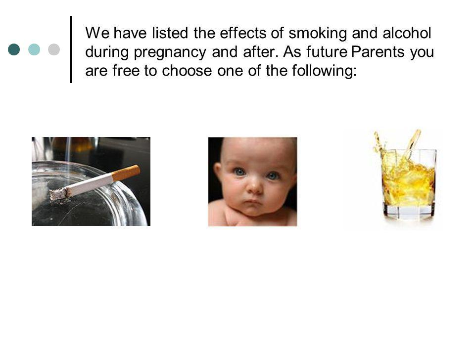 We have listed the effects of smoking and alcohol during pregnancy and after.