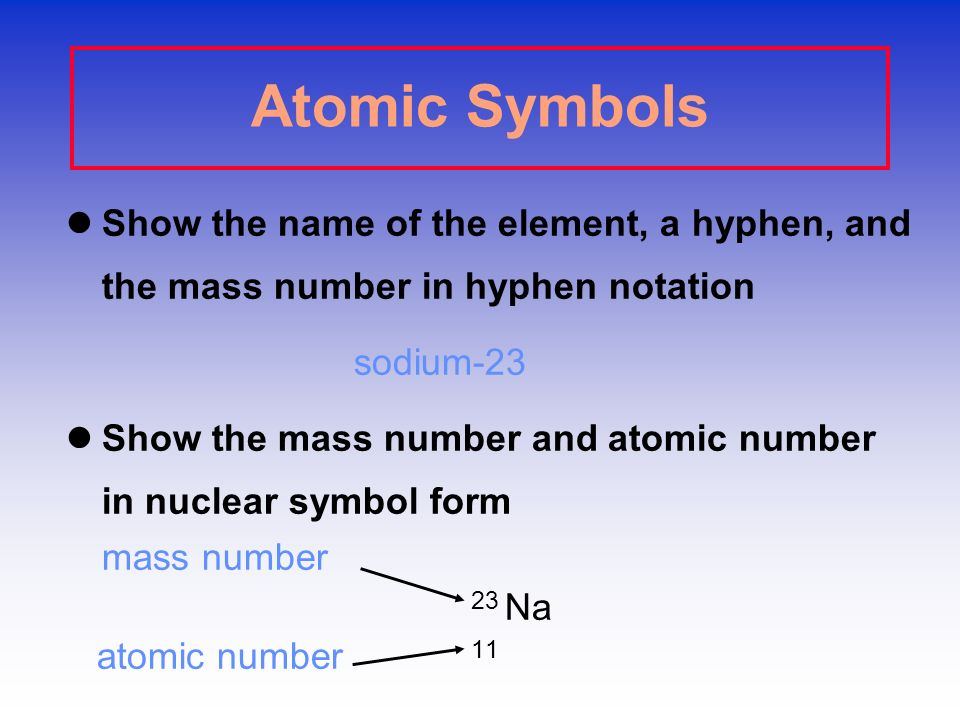 Atomic Symbols Show the name of the element, a hyphen, and the mass number in hyphen notation. sodium-23.