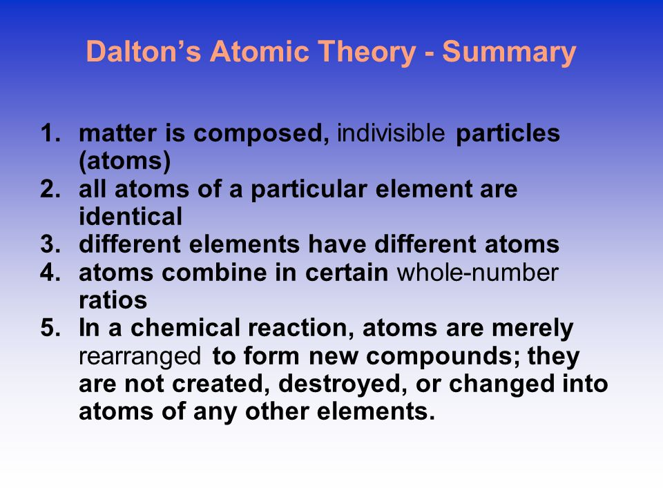 Dalton's Atomic Theory - Summary