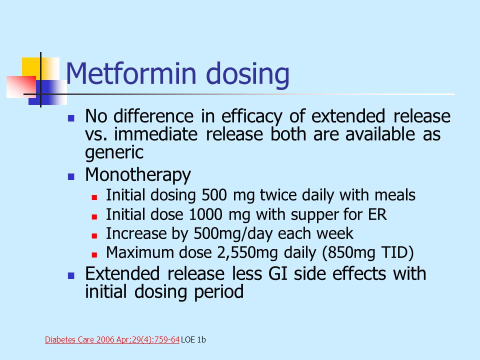 Metformin dosing No difference in efficacy of extended release vs. immediate release both are available as generic.