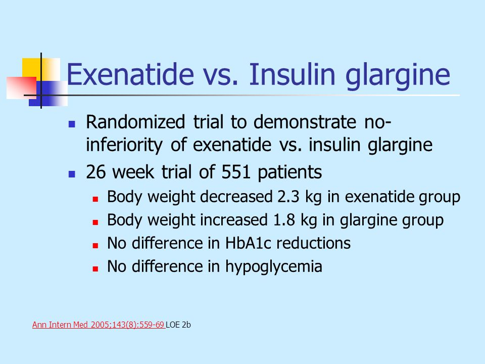 Exenatide vs. Insulin glargine