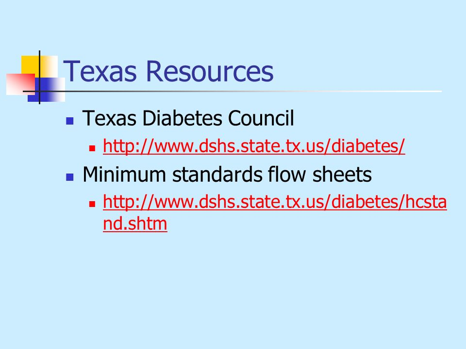 Texas Resources Texas Diabetes Council Minimum standards flow sheets