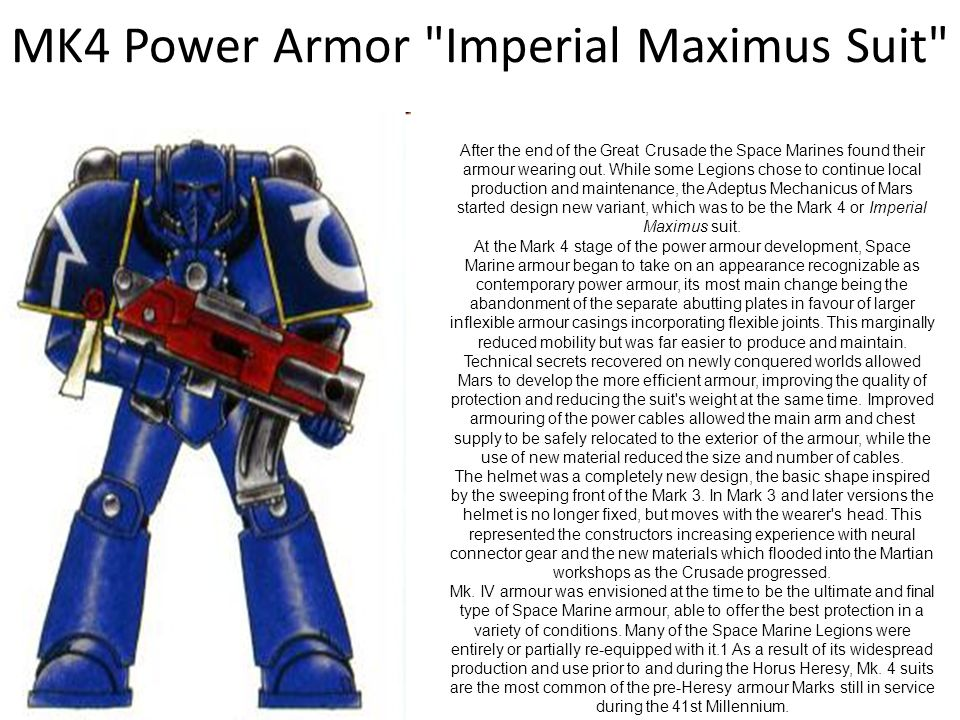 MK4 Power Armor Imperial Maximus Suit