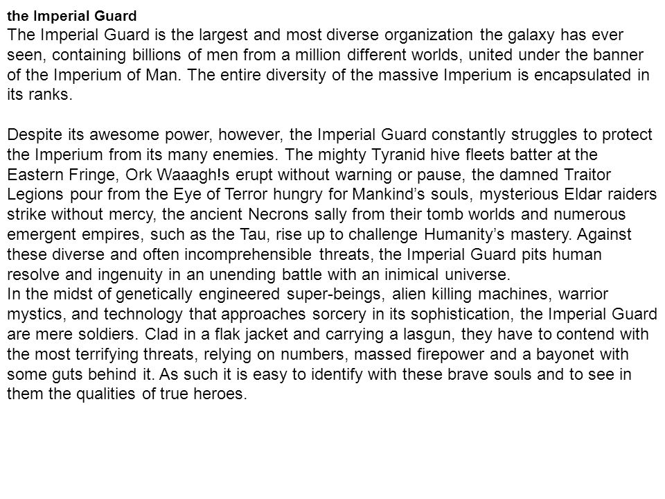 the Imperial Guard