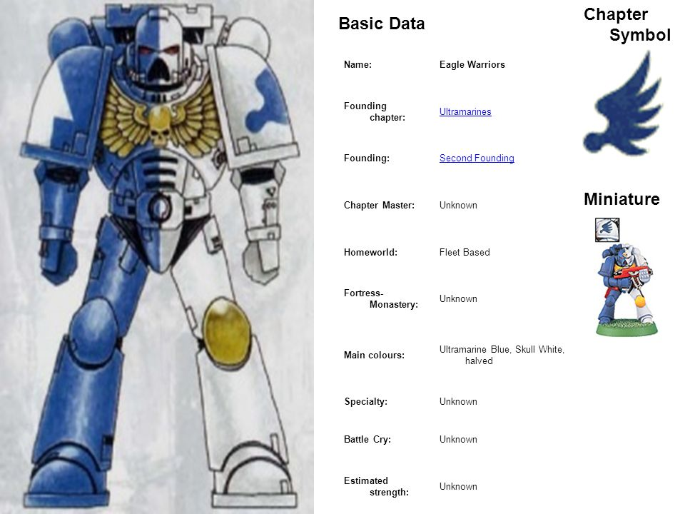 Marine Basic Data Chapter Symbol Miniature Name: Eagle Warriors