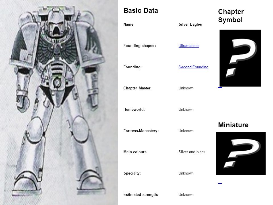 Marine Basic Data Chapter Symbol Miniature Name: Silver Eagles