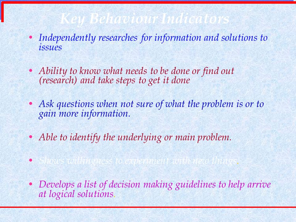 Key Behaviour Indicators