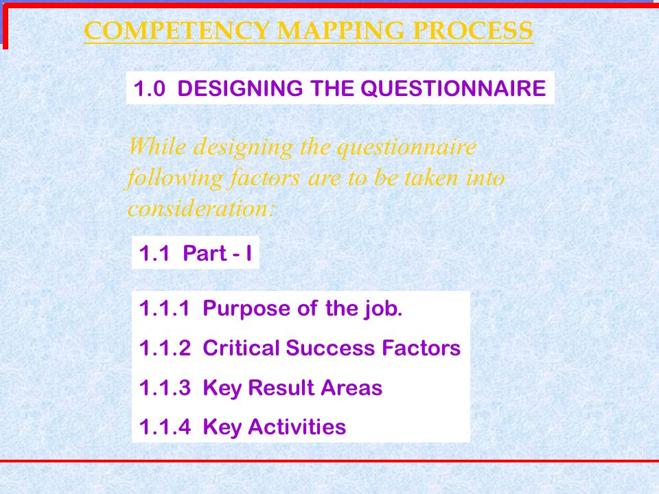 COMPETENCY MAPPING PROCESS