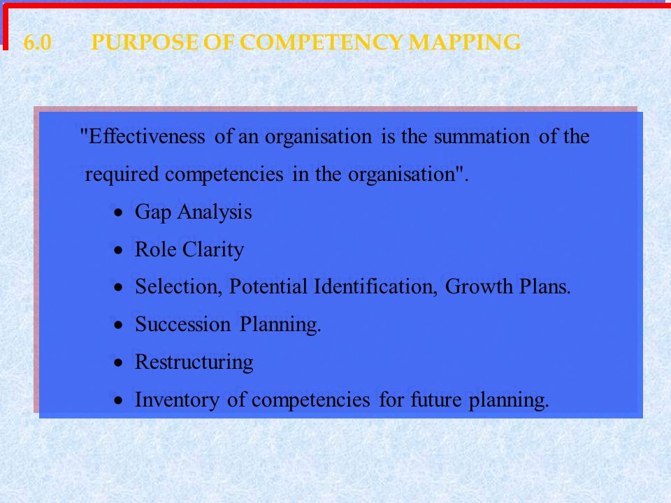 6.0 PURPOSE OF COMPETENCY MAPPING