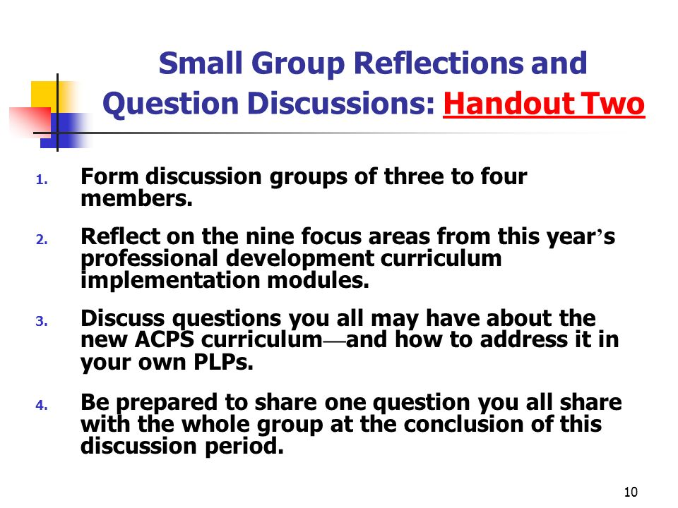 Small Group Reflections and Question Discussions: Handout Two