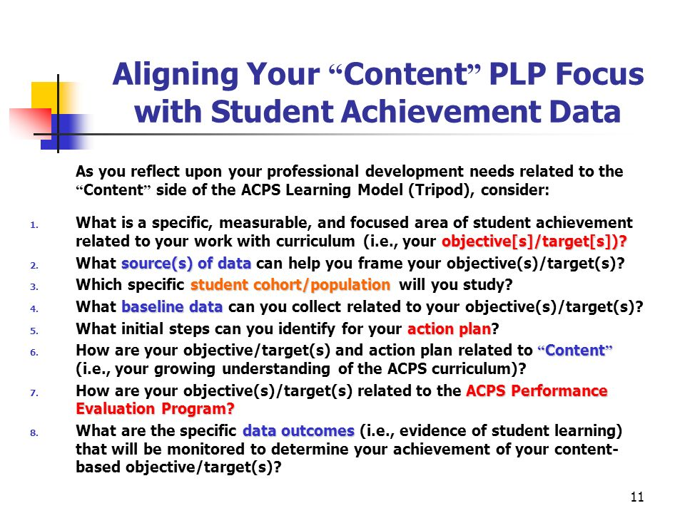 Aligning Your Content PLP Focus with Student Achievement Data