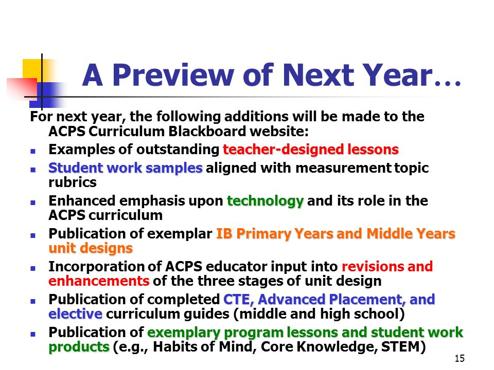 A Preview of Next Year… For next year, the following additions will be made to the ACPS Curriculum Blackboard website: