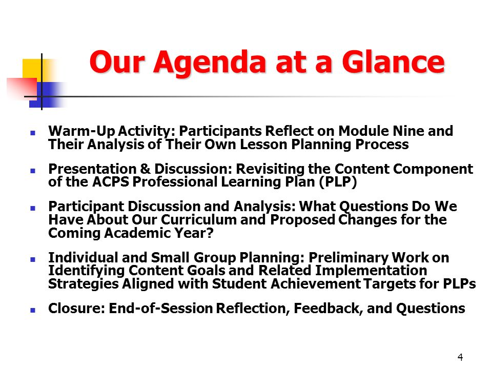 Our Agenda at a Glance Warm-Up Activity: Participants Reflect on Module Nine and Their Analysis of Their Own Lesson Planning Process.