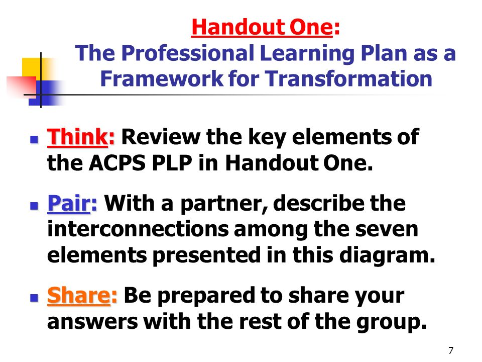 Handout One: The Professional Learning Plan as a Framework for Transformation