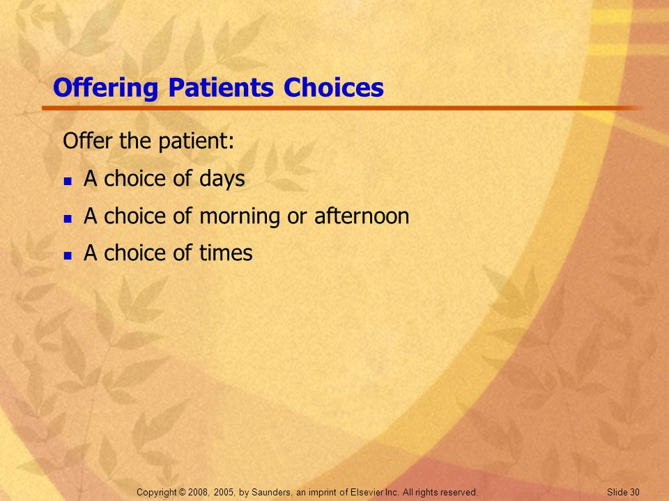 Offering Patients Choices