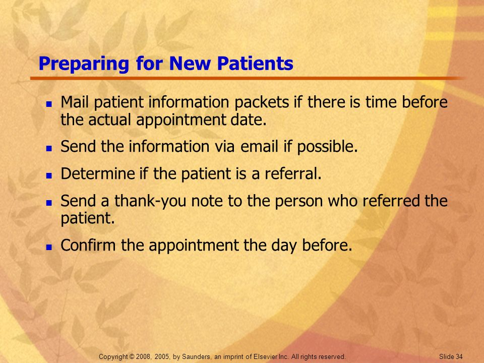 Preparing for New Patients