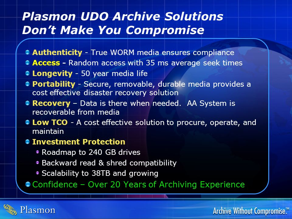 Plasmon UDO Archive Solutions Don't Make You Compromise
