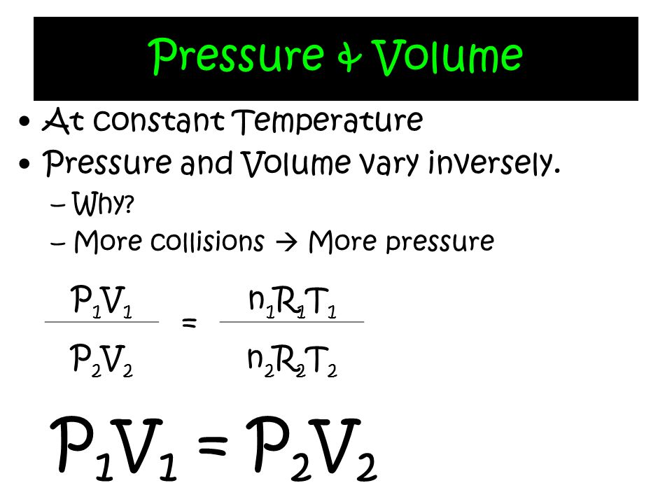 P1V1 = P2V2 Pressure & Volume At constant Temperature