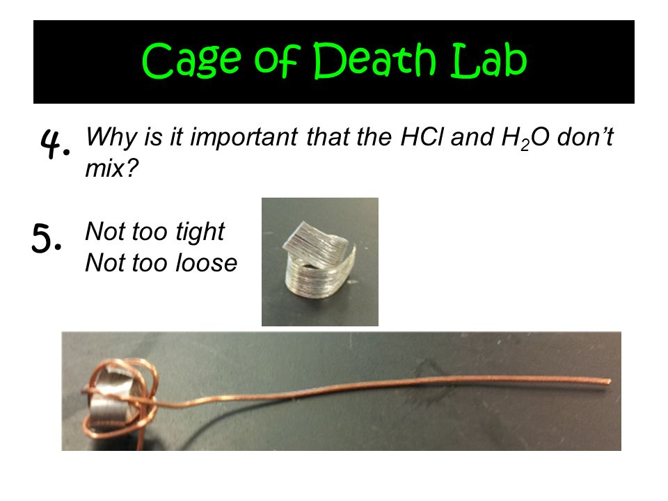 Cage of Death Lab 4. Why is it important that the HCl and H2O don't mix.