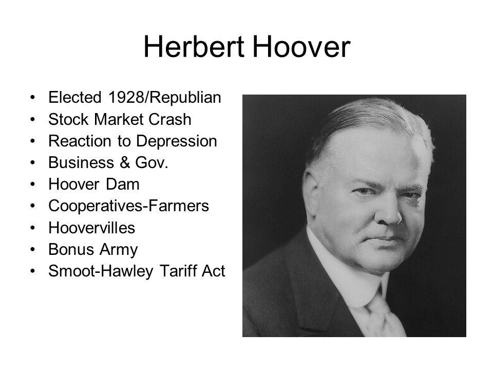 Herbert Hoover Elected 1928/Republian Stock Market Crash
