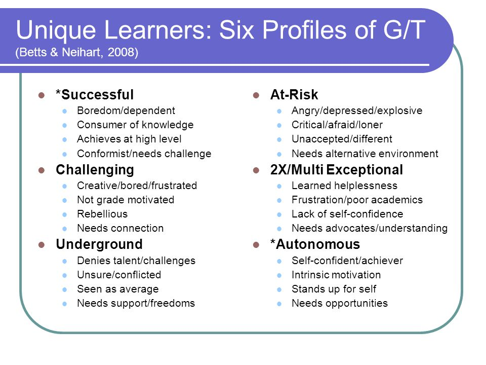 Unique Learners: Six Profiles of G/T (Betts & Neihart, 2008)