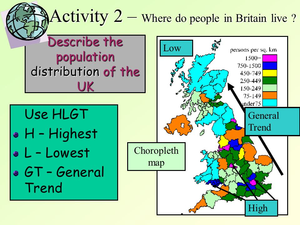 Describe the population distribution of the UK