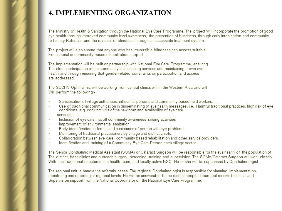 4. IMPLEMENTING ORGANIZATION