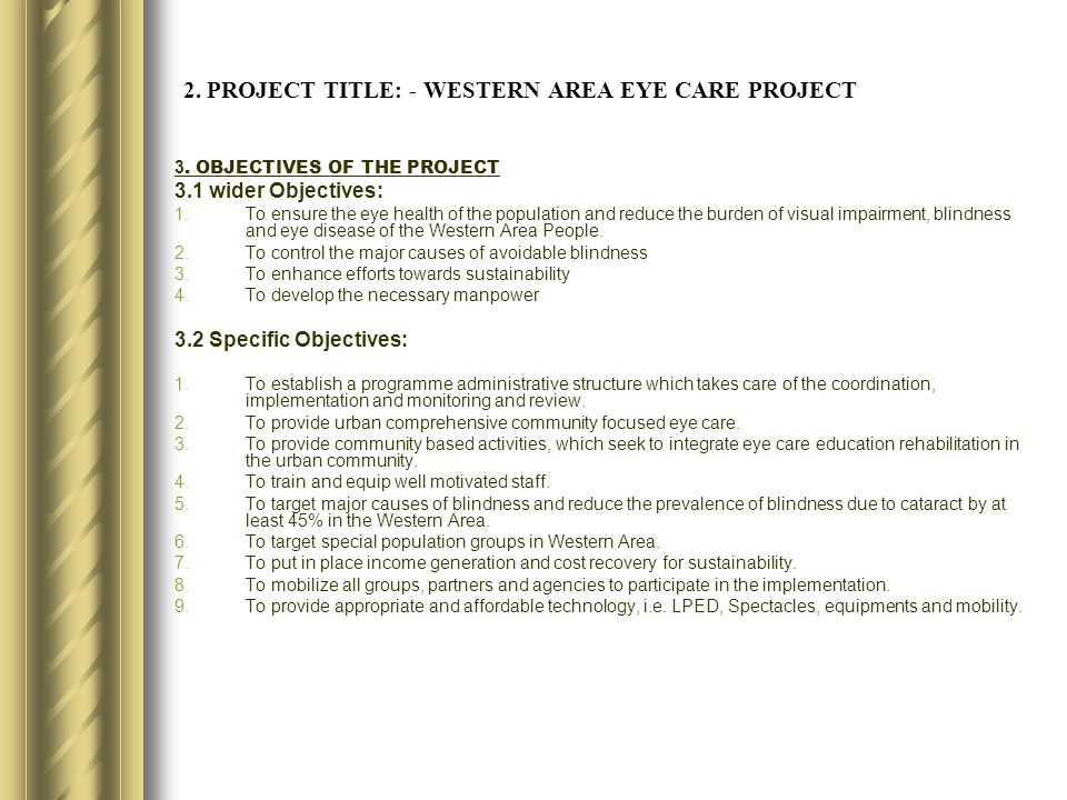 2. PROJECT TITLE: - WESTERN AREA EYE CARE PROJECT