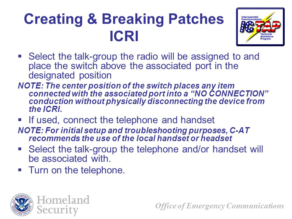 Creating & Breaking Patches ICRI