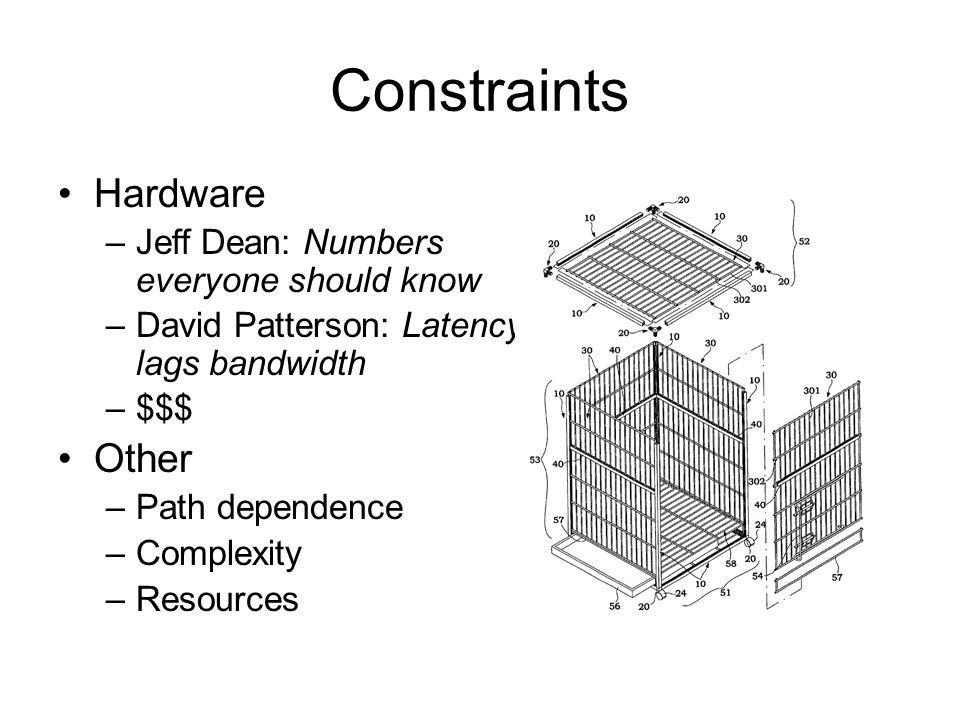 Constraints Hardware Other Jeff Dean: Numbers everyone should know
