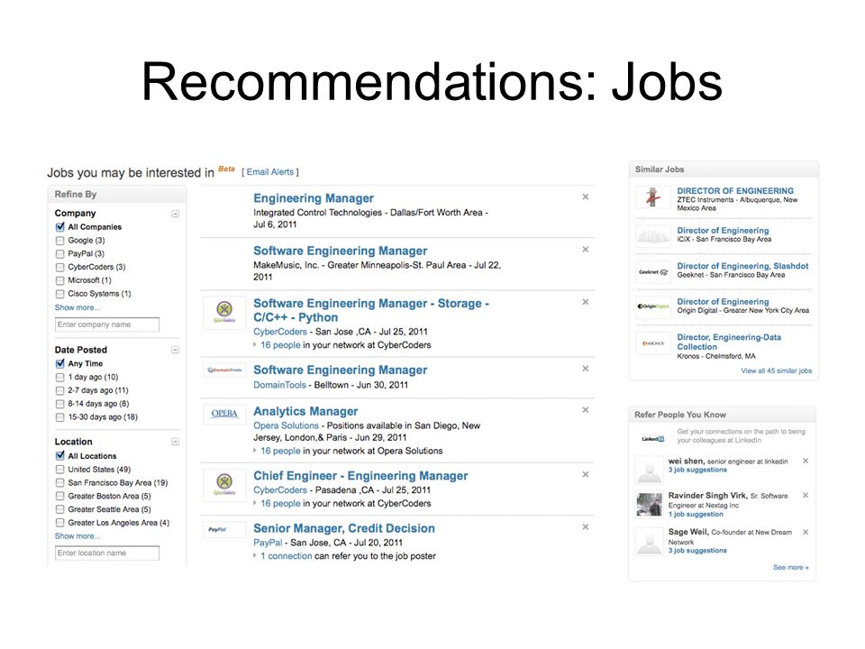 Recommendations: Jobs