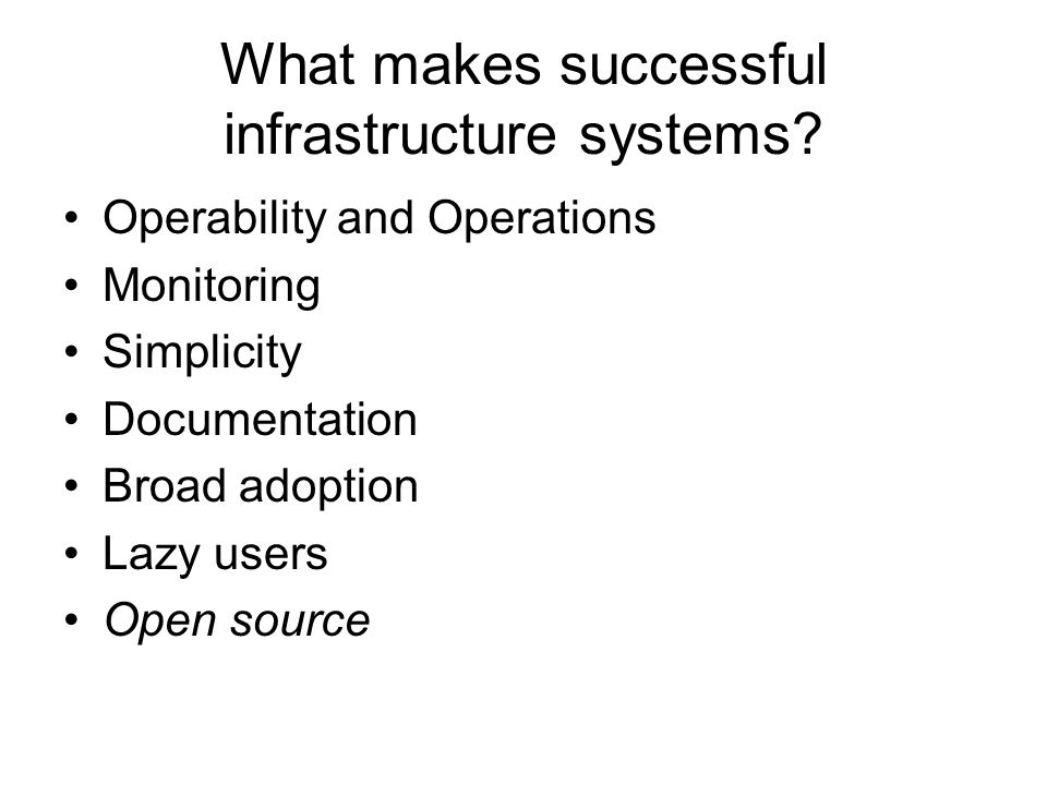 What makes successful infrastructure systems