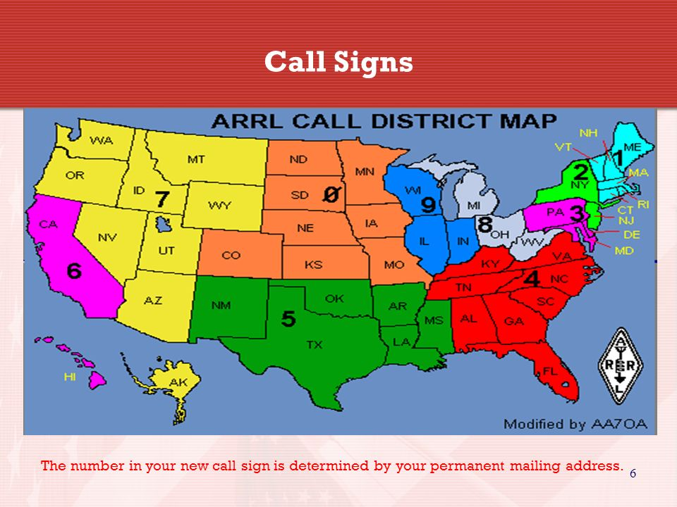 Call Signs The number in your new call sign is determined by your permanent mailing address. 6