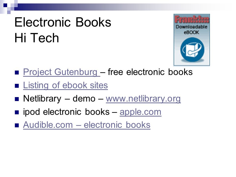 Electronic Books Hi Tech