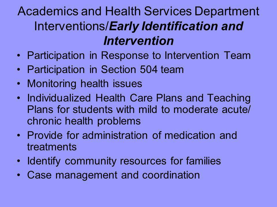 Academics and Health Services Department Interventions/Early Identification and Intervention