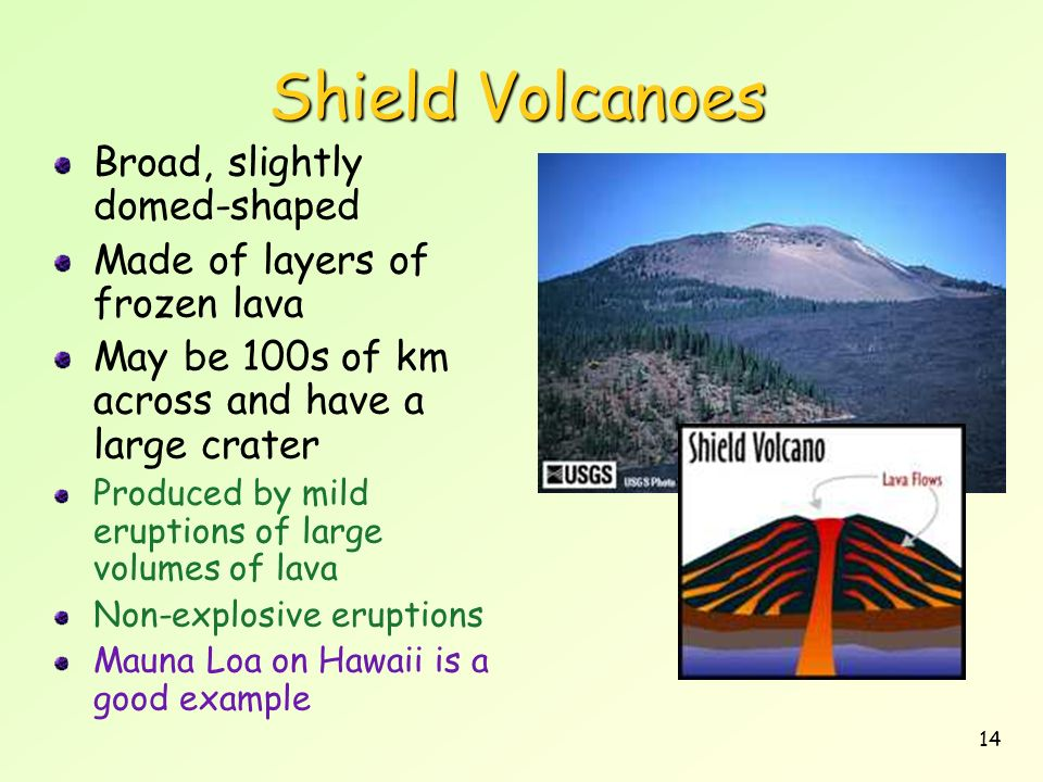 Shield Volcanoes Broad, slightly domed-shaped