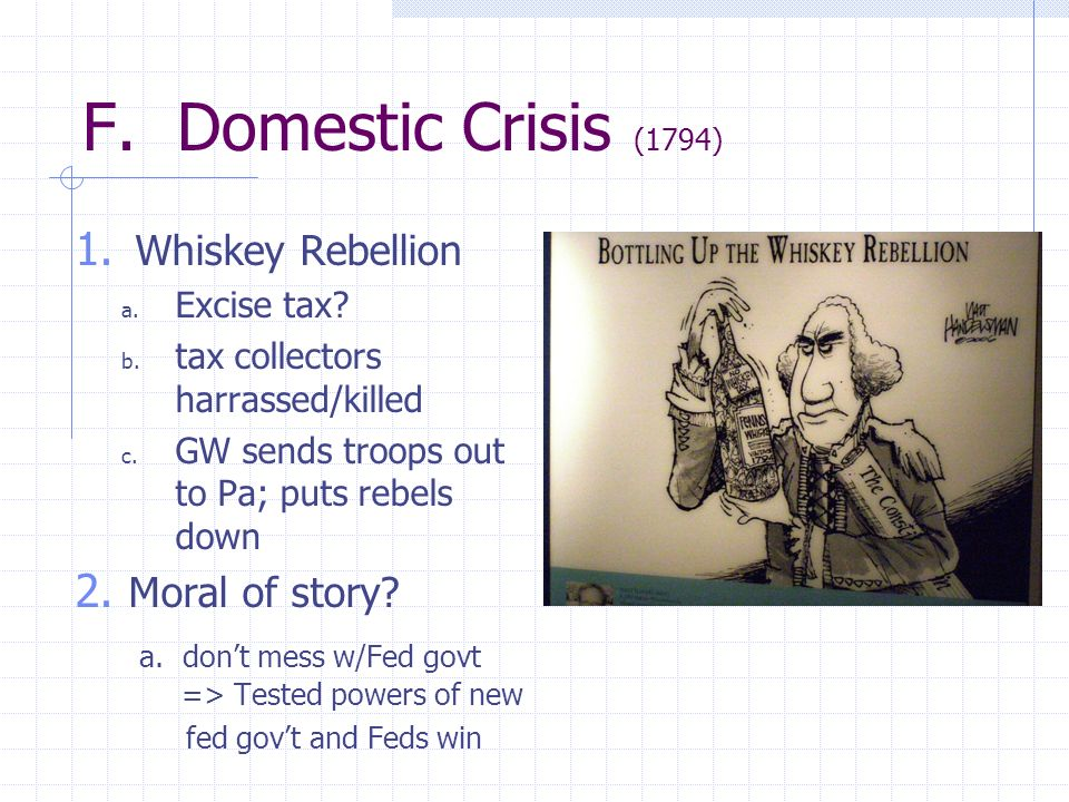 F. Domestic Crisis (1794) Whiskey Rebellion Moral of story