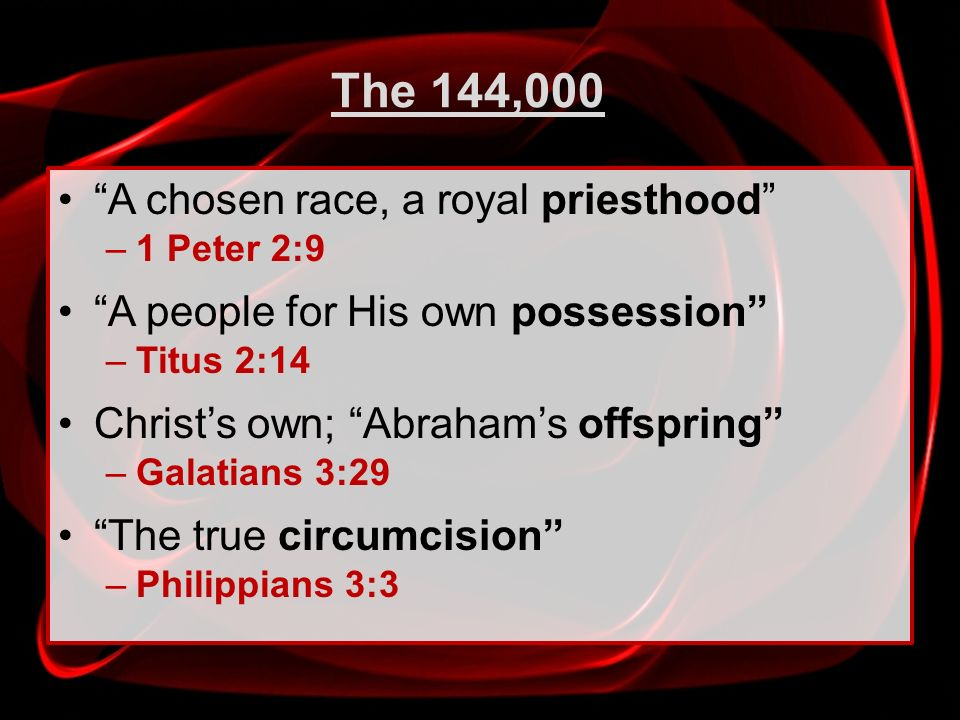 The 144,000 A chosen race, a royal priesthood