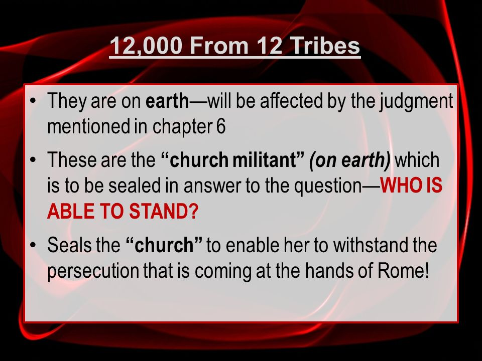 12,000 From 12 Tribes They are on earth—will be affected by the judgment mentioned in chapter 6.