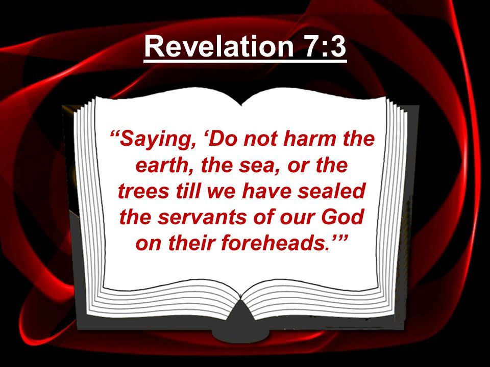 Revelation 7:3 Saying, 'Do not harm the earth, the sea, or the trees till we have sealed the servants of our God on their foreheads.'