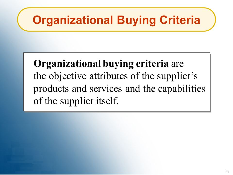 Organizational Buying Criteria